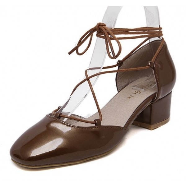 Brown Patent Leather Round Head Ankle Straps Strappy Mid Heels Shoes