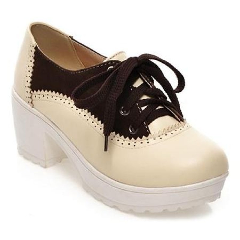 985a8cb7d46 Cream Brown Vintage Chunky Sole Block Lace Up Heels Platforms Oxfords Shoes