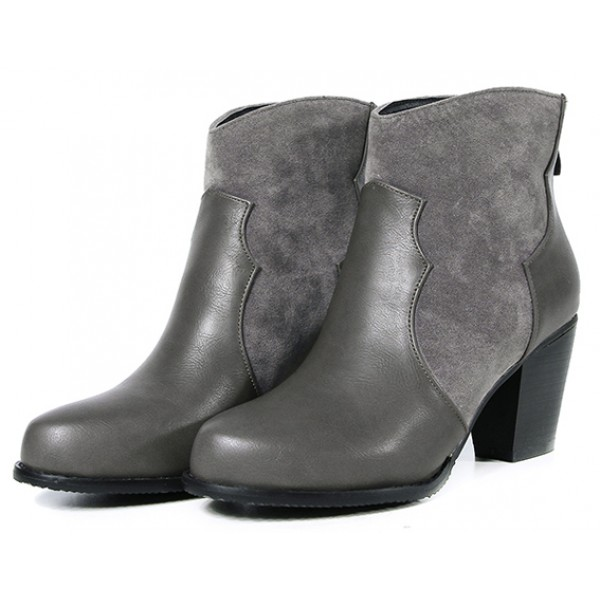 Grey Suede Ankle Point Head Chelsea Heels Boots Shoes