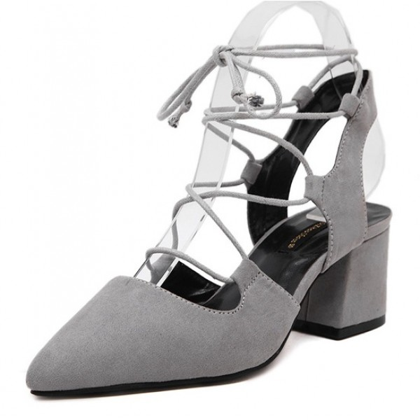Grey Suede Point Head Ankle Straps Strappy High Heels Shoes