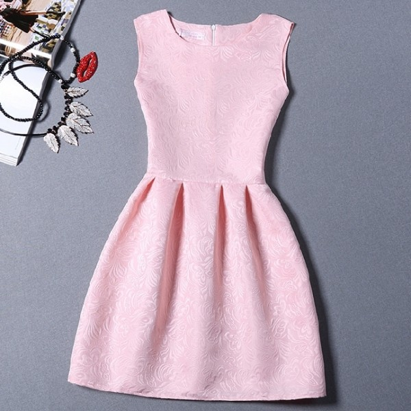 Pink Baby Baroque Vintage Sleeveless A Line Skater Mini Party Cocktail Skirt Dress