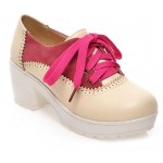 Pink Cream Vintage Chunky Sole Block Lace Up Heels Platforms Oxfords Shoes