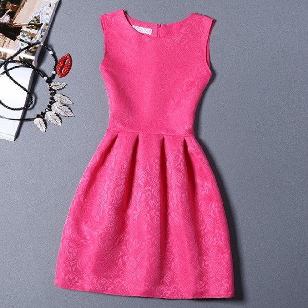 Pink Fushia Baroque Vintage Sleeveless A Line Skater Mini Party Cocktail Skirt Dress