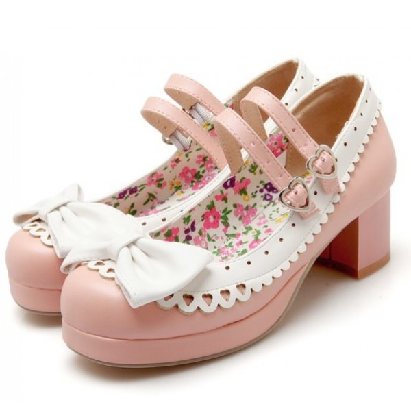 Pink White Bow Lace Trim Double Straps Sweet Mary Jane Heels Shoes