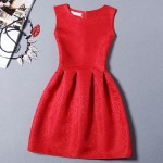 Red Baroque Vintage Sleeveless A Line Skater Mini Party Cocktail Skirt Dress