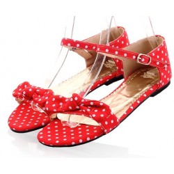 Red Polkadots Polka Dots Bow Flats Summer Sandals Shoes