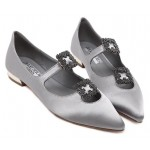 Silver Satin Diamonte Square Buckles Point Head Evening Party Flats Shoes