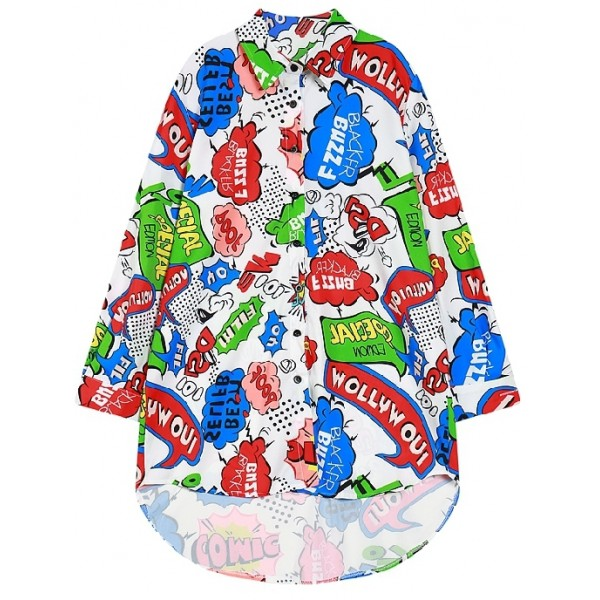 White Colorful Speech Bubble Long Sleeves Chiffon Blouse Oversized Boy Friend Shirt