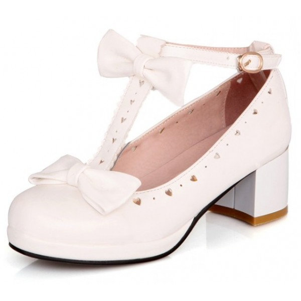 White Heart Bow T Straps Sweet Mary Jane Heels Shoes