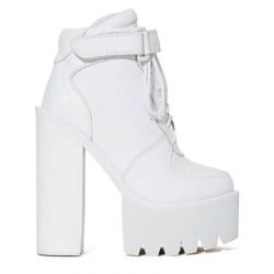White Sneakers Chunky Sole Block High Heels Platforms Boots Shoes