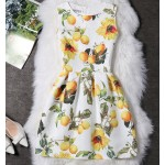 White Yellow Lemon Trees Sleeveless A Line Skater Mini Party Cocktail Skirt Dress