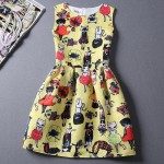 Yellow Cats Cartoon Sleeveless A Line Skater Mini Party Cocktail Skirt Dress