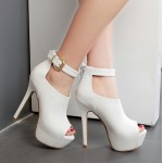 White Peeptoe Ankle Strap Platforms Pump Stiletto High Heels Boots Shoes