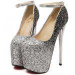Silver Glitter Bling Bling Platforms Stiletto Wine Glass Super High Heels Shoes