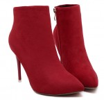 Red Suede Point Head Stiletto High Heels Ankle Boots