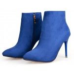 Blue Royal Suede Point Head Stiletto High Heels Ankle Boots