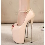 Khaki Patent Peeptoe Mary Jane Platforms Stiletto Super High Heels Shoes
