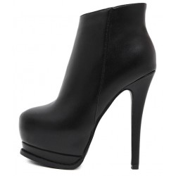 Black Head Platforms Stiletto High Heels Ankle Boots