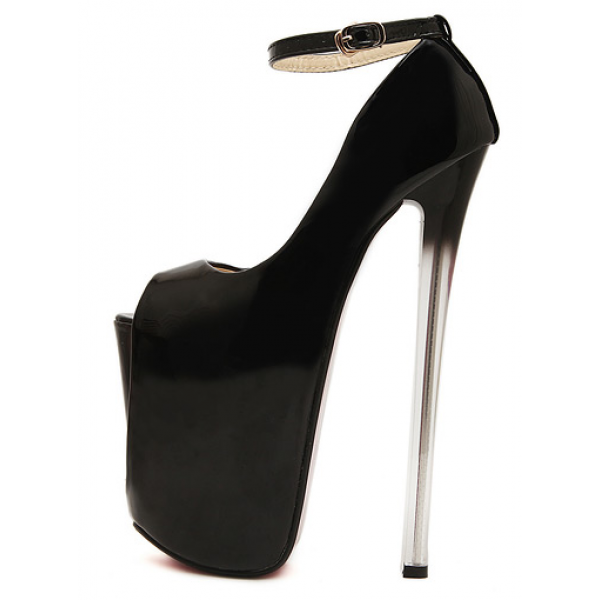 Black Patent Peeptoe Mary Jane Platforms Stiletto Super High Heels Shoes