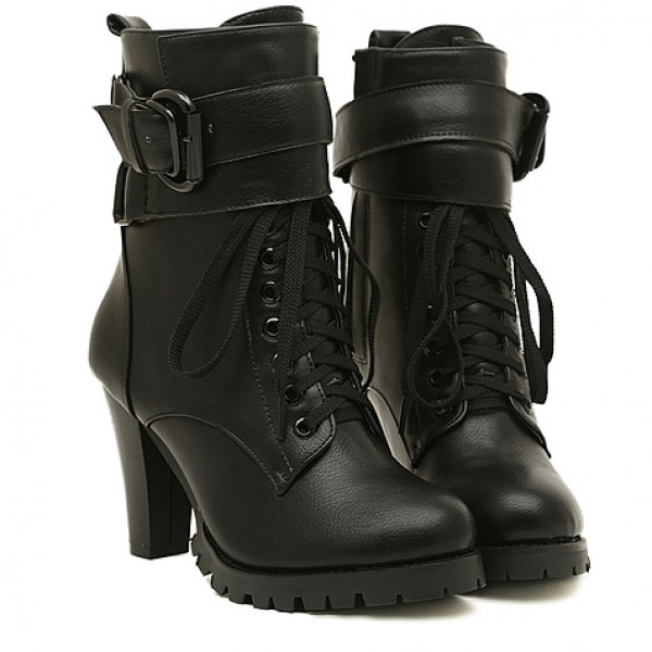 Black Straps High Top Lace Up Combat Rider High Heels Boots
