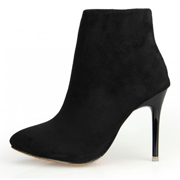 Black Suede Point Head Stiletto High Heels Ankle Boots