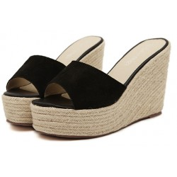 Black Suede Straw Knitted Platforms Wedges Sandals Shoes