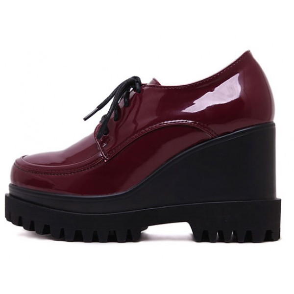 Burgundy Patent Lace Up Wedges Platforms Oxfords Shoes