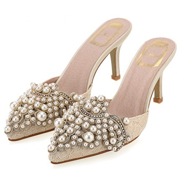Cream Crochet Lace Pearls Embellished Point Head Heels Bridal Sandals Shoes
