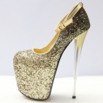 Gold Glitter Bling Bling Platforms Stiletto Wine Glass Super High Heels Shoes