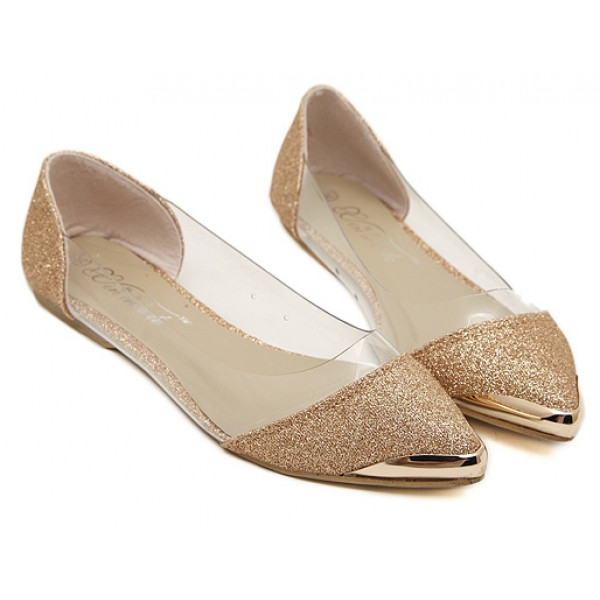Gold Glitter Metal Cap Point Head Transparent Ballets Ballerina Flats Shoes