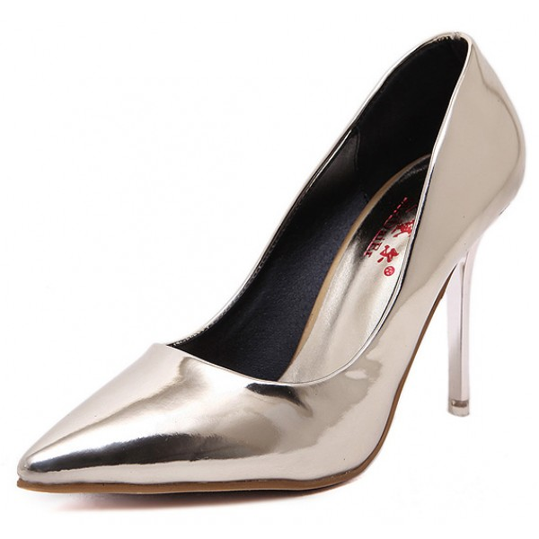 Grey Metallic Patent Mirror Leather Point Head Bridal Stiletto High Heels Shoes