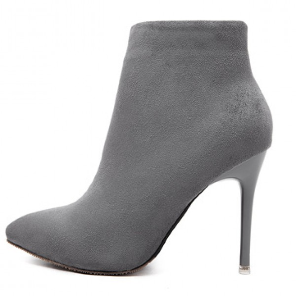 Grey Suede Point Head Stiletto High Heels Ankle Boots