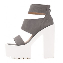 Grey Suede Straps White Block Chunky Cleated Sole High Heels Platforms Sandals Shoes