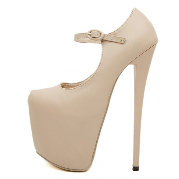 Khaki Beige Mary Jane Platforms Stiletto Super High Heels Shoes