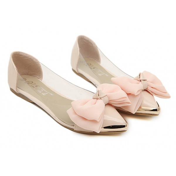Pink Bow Metal Cap Point Head Transparent Ballets Ballerina Flats Shoes