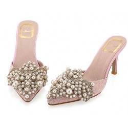Pink Crochet Lace Pearls Embellished Point Head Heels Bridal Sandals Shoes