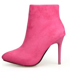 Pink Fushia Suede Point Head Stiletto High Heels Ankle Boots
