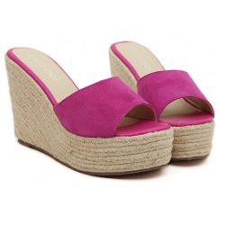 Pink Fushia Suede Straw Knitted Platforms Wedges Sandals Shoes