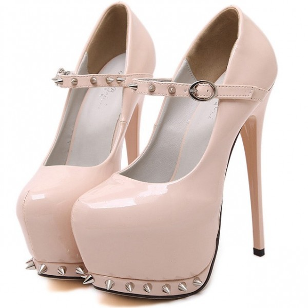 Pink Patent Spikes Punk Rock Mary Jane Platforms Stiletto High Heels Shoes