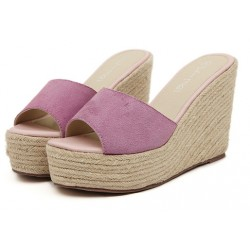 Pink Suede Straw Knitted Platforms Wedges Sandals Shoes
