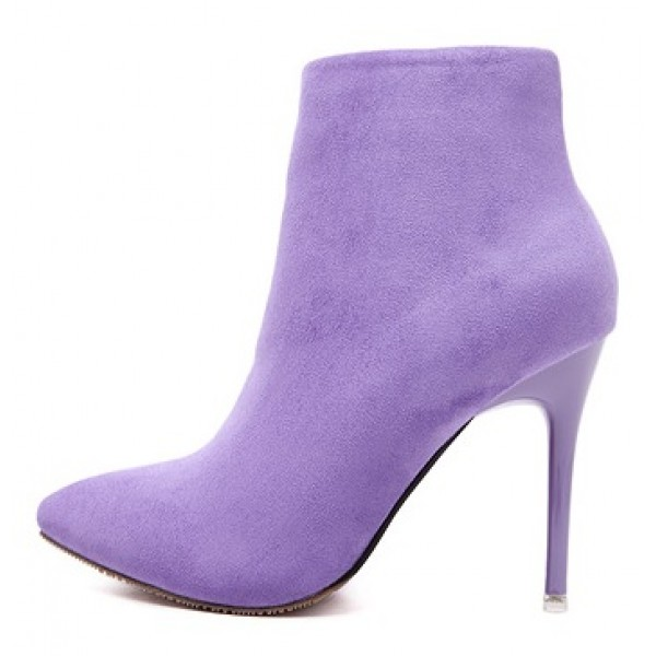 Purple Suede Point Head Stiletto High Heels Ankle Boots