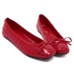 Red Quilted Bow Bunt Head Ballets Ballerina Flats Loafers Shoes