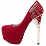 Red Suede Back Chains Platforms Gold Stiletto High Heels Shoes