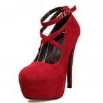 Red Suede Cross Strap Mary Jane Platforms Stiletto High Heels Shoes
