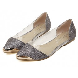 Silver Glitter Metal Cap Point Head Transparent Ballets Ballerina Flats Shoes
