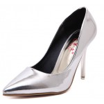 Silver Metallic Patent Mirror Leather Point Head Bridal Stiletto High Heels Shoes