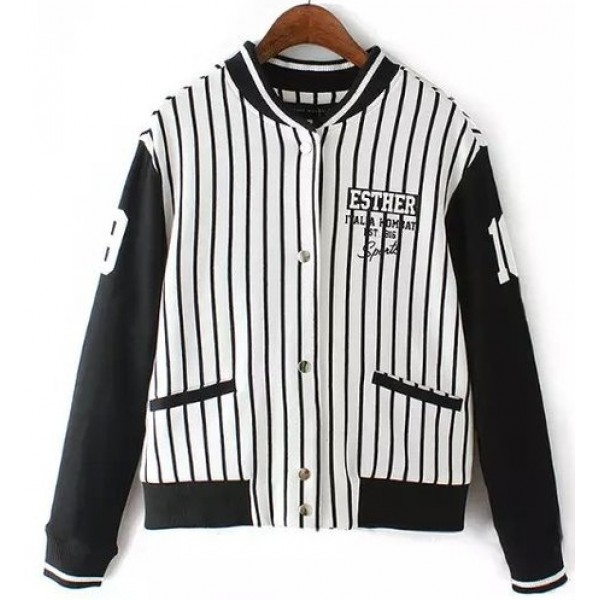 White Black Vertical Stripes Esther Baseball Aviator Bomber Rider Jacket
