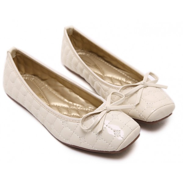 White Quilted Bow Bunt Head Ballets Ballerina Flats Loafers Shoes