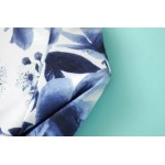 White Blue Flowers Floral Painting Long Sleeve Sweatshirts Tops