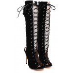 Black Suede Lace Up Sexy Roman Gladiator Stiletto High Heels Knee Boots